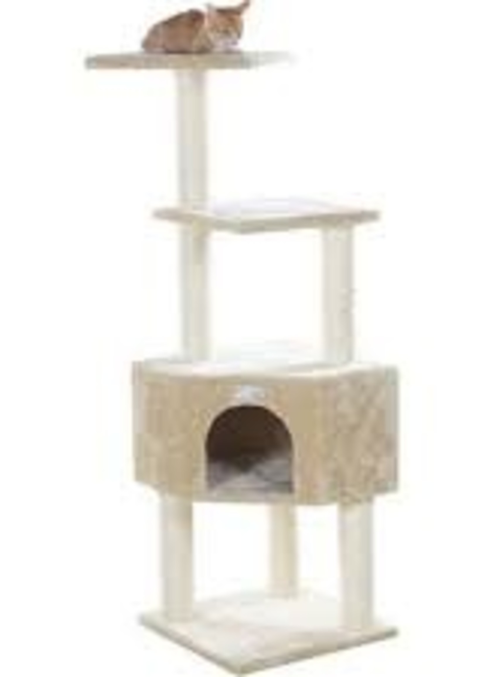 GleePet GleePet GP78480321 48-Inch Cat Tree In Beige With Perch And Playhouse