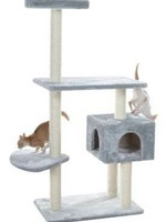 GleePet GleePet  GP78560322 57-Inch Cat Tree In Silver Gray With Condo And Perch