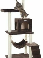 GleePet GleePet GP78570923  57-Inch Cat Tree In Coffee Brown With Four Levels, Ramp, Hammock And Condo