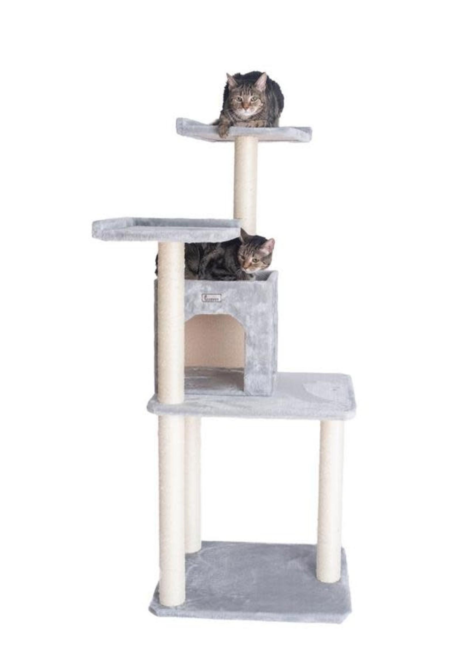 GleePet GleePet GP78571022 57-Inch Cat Tree In Silver Gray With Two-Door Condo
