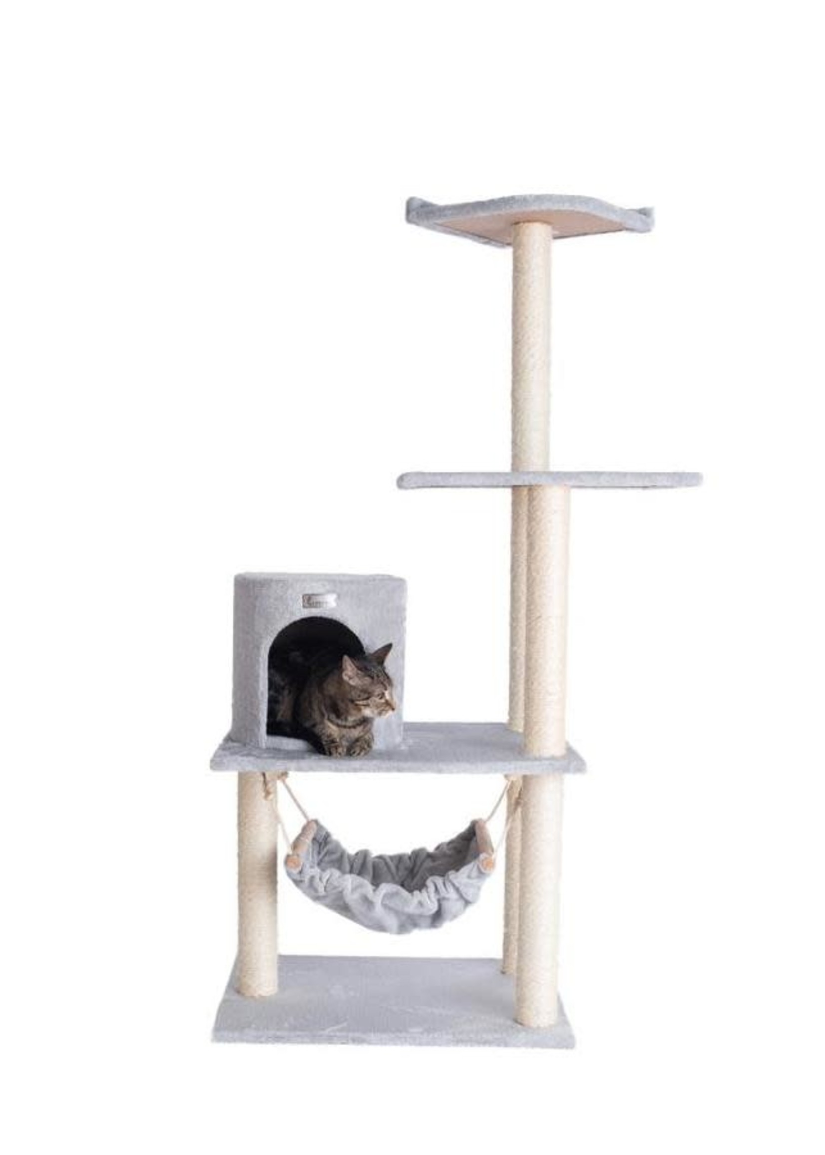 GleePet GleePet GP78590222 59-Inch Cat Tree In Silver Gray With Hammock And Round Condo