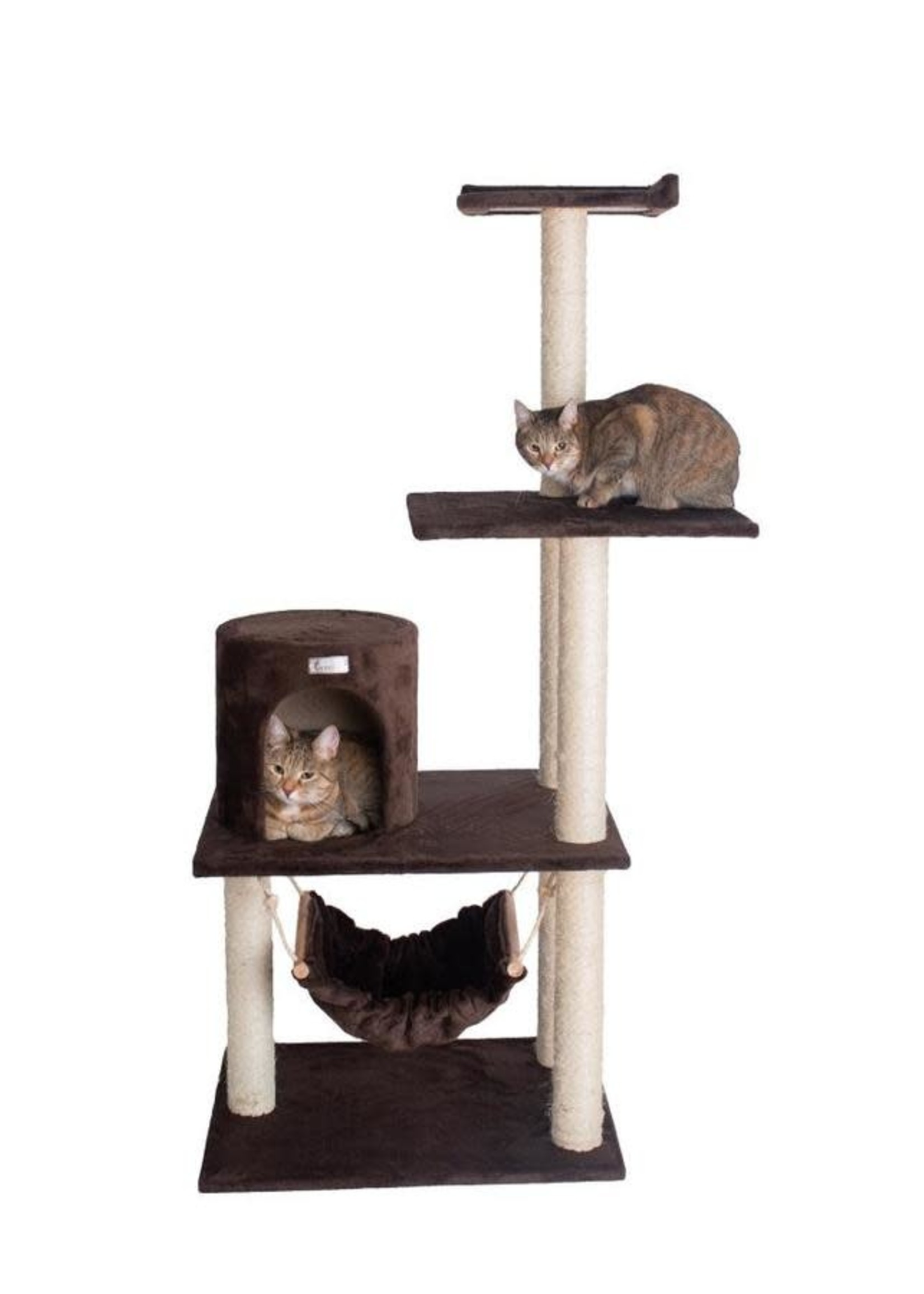 GleePet GleePet GP78590223 59-Inch Cat Tree In Coffee Brown With Condo And Hammock