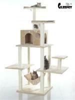 GleePet GleePet GP78680621 68-Inch Cat Tree In Beige With Five Levels, Hammock, Condo