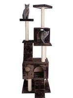 GleePet GleePet GP78700623 70-Inch Cat Tree In Coffee Brown With Two Ramps & Condos