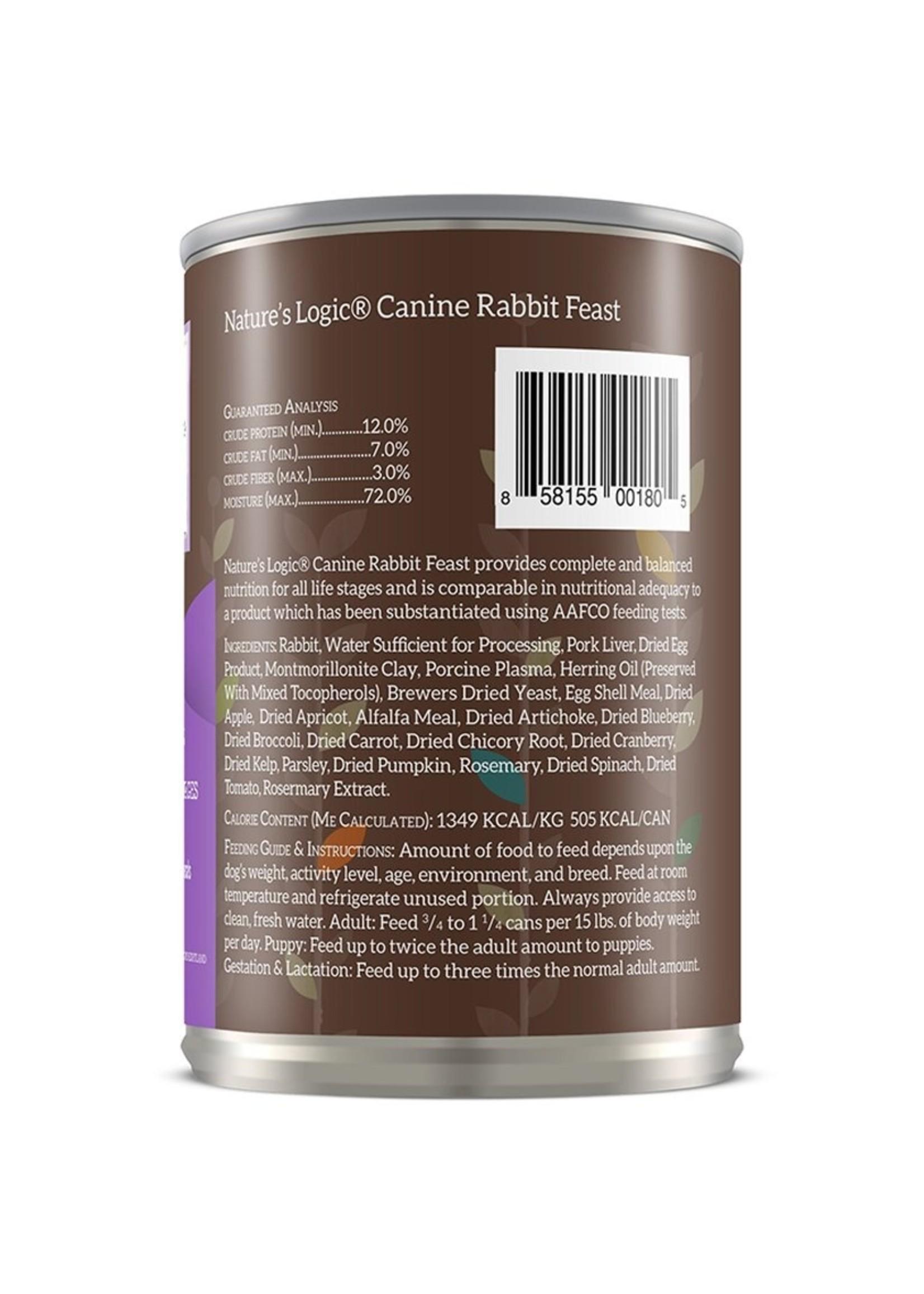 Nature's Logic Nature's Logic Rabbit Wet Dog Food 13.2oz Case