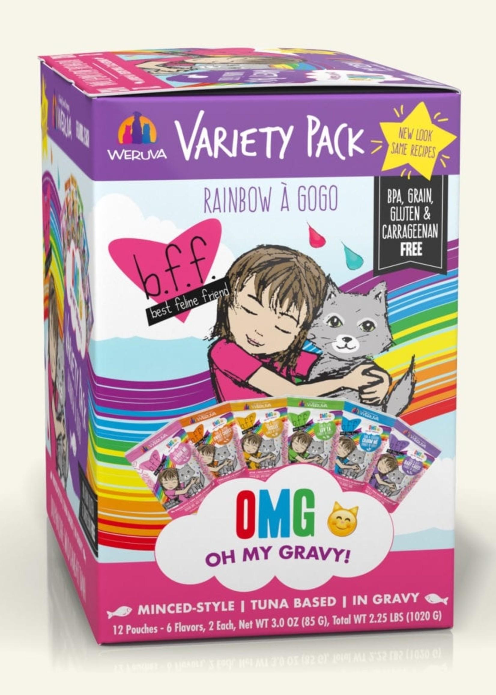 Weruva B.F.F. OMG Rainbow A Gogo Variety Pack! Wet Cat Food 3oz Pouch 12 Pack