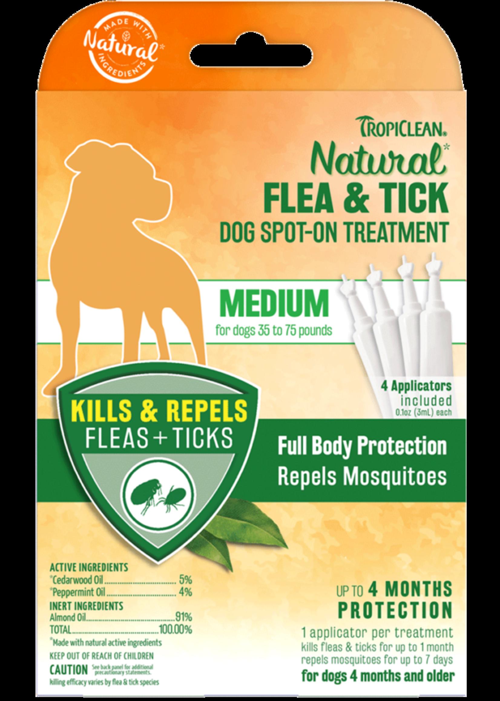 Tropiclean Tropiclean Flea & Tick Spot On Treatment Medium Dog 4 pk