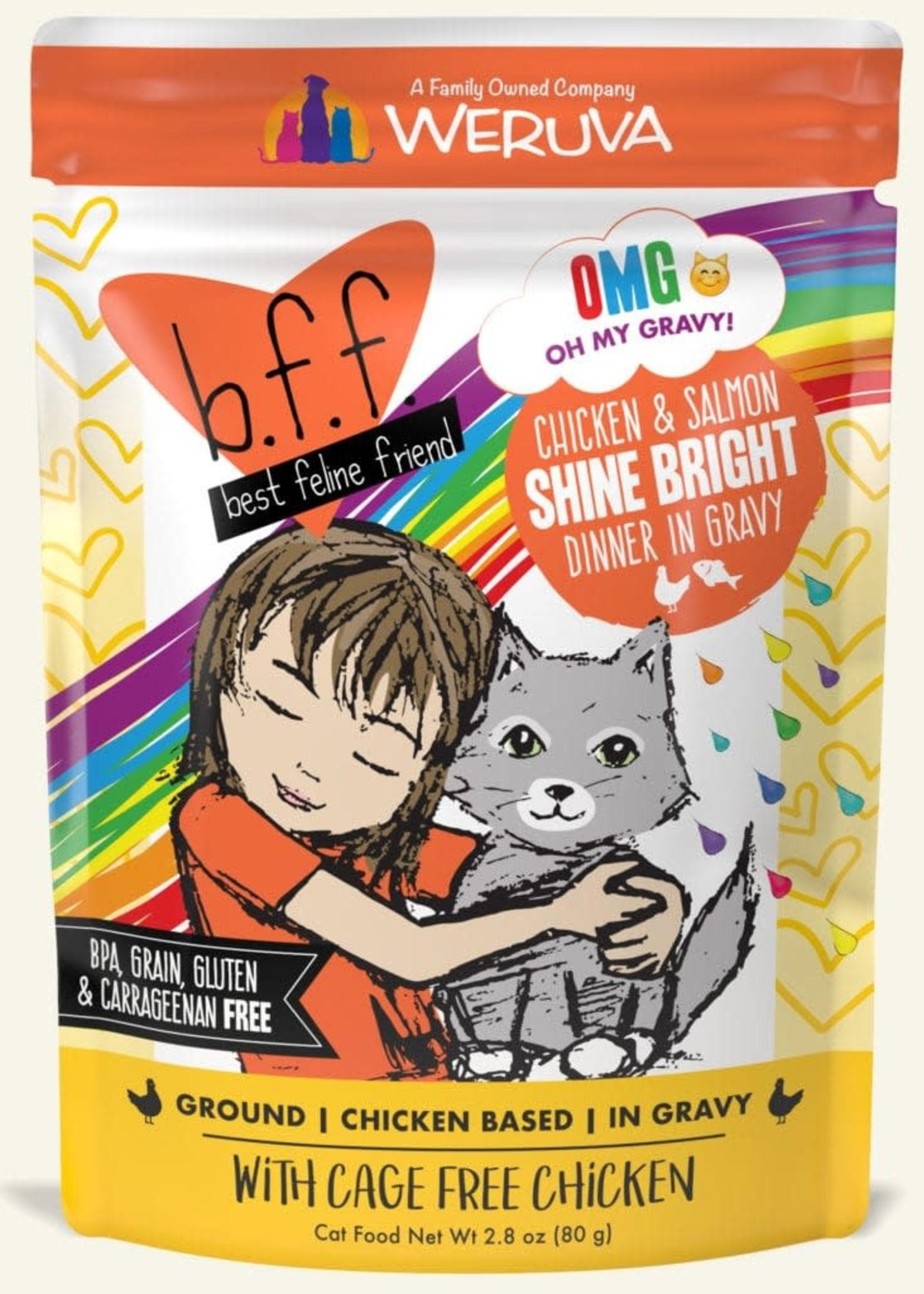 Weruva B.F.F. OMG Shine Bright Chicken & Salmon in Gravy Wet Cat Food 2.8oz Case