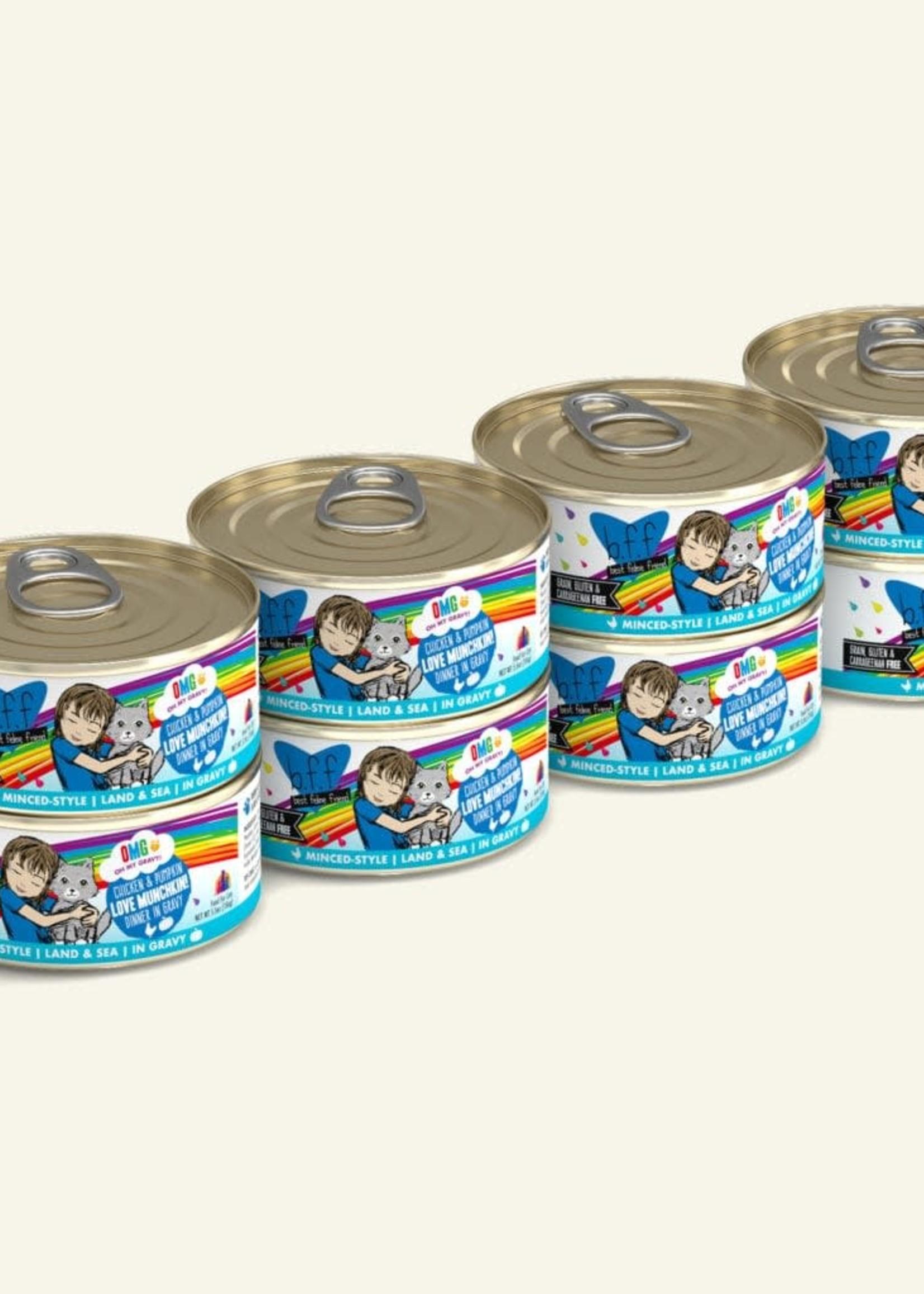 Weruva B.F.F. OMG Love Munchkin! Chicken & Pumpkin in Gravy Wet Cat Food 5.5oz Case