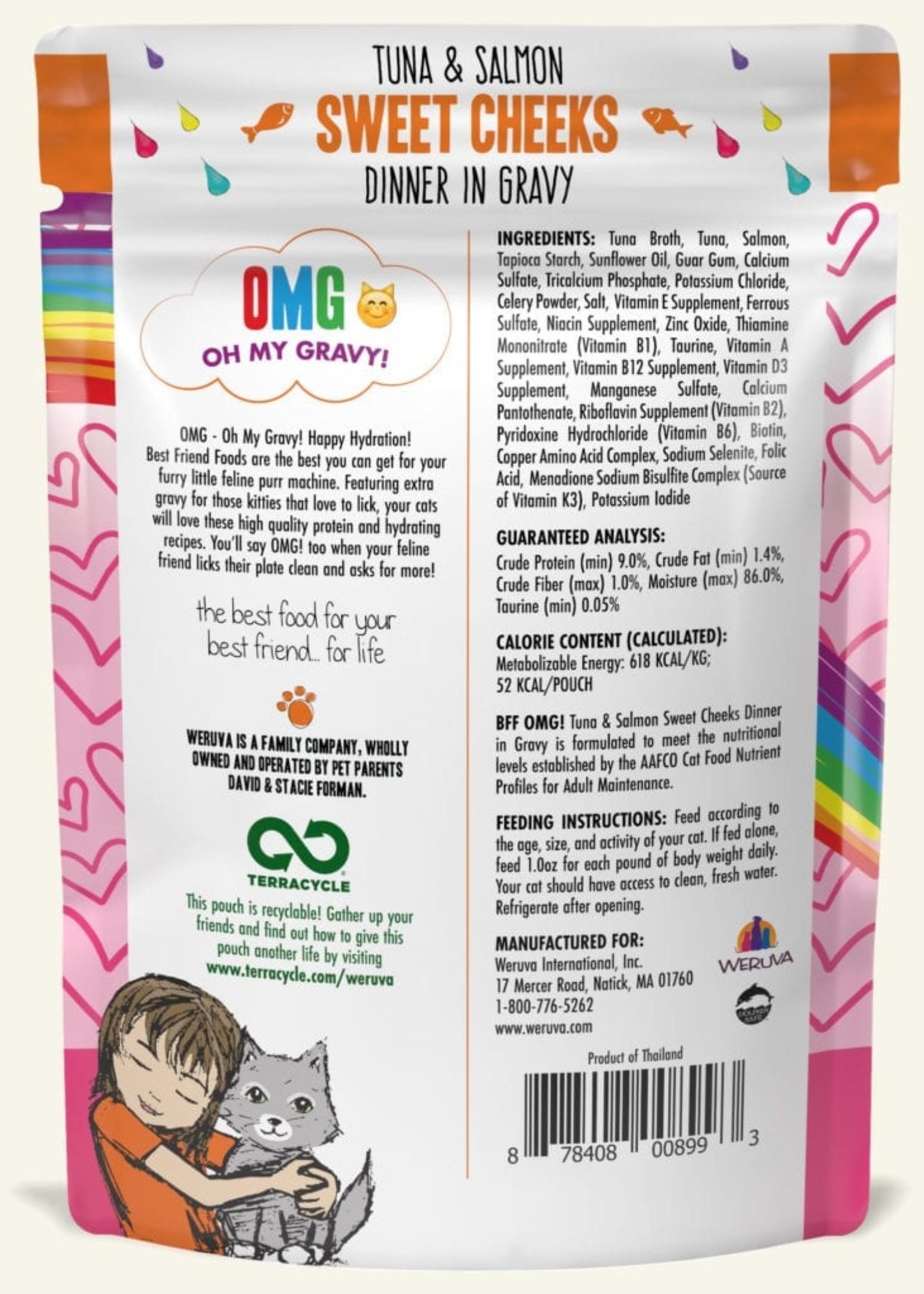 Weruva B.F.F. OMG Sweet Cheeks Wet Cat Food 3 oz Pouch 12 Case