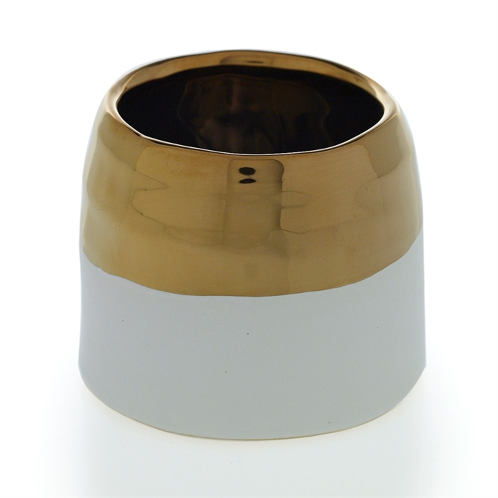3.5'' x 3'' WHITE AND GOLD CLAIRE POT (AD)