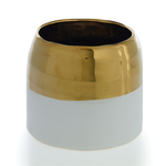 5.75'' x 5'' WHITE AND GOLD CLAIRE POT (AD)