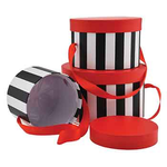 """6.5""""D X 4""""H BLACK/WHITE STRIPE WITH RED TOP HAT BOX"""