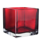 """Red 4"""""""" Square Votive H-4"""""""" x Top 4""""""""x4"""" box can be marked mg1009"""