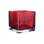 """5"""""""" x 5"""""""" x 5"""""""" Square Vase - Ruby BOX CAN BE MARKED MG1010"""