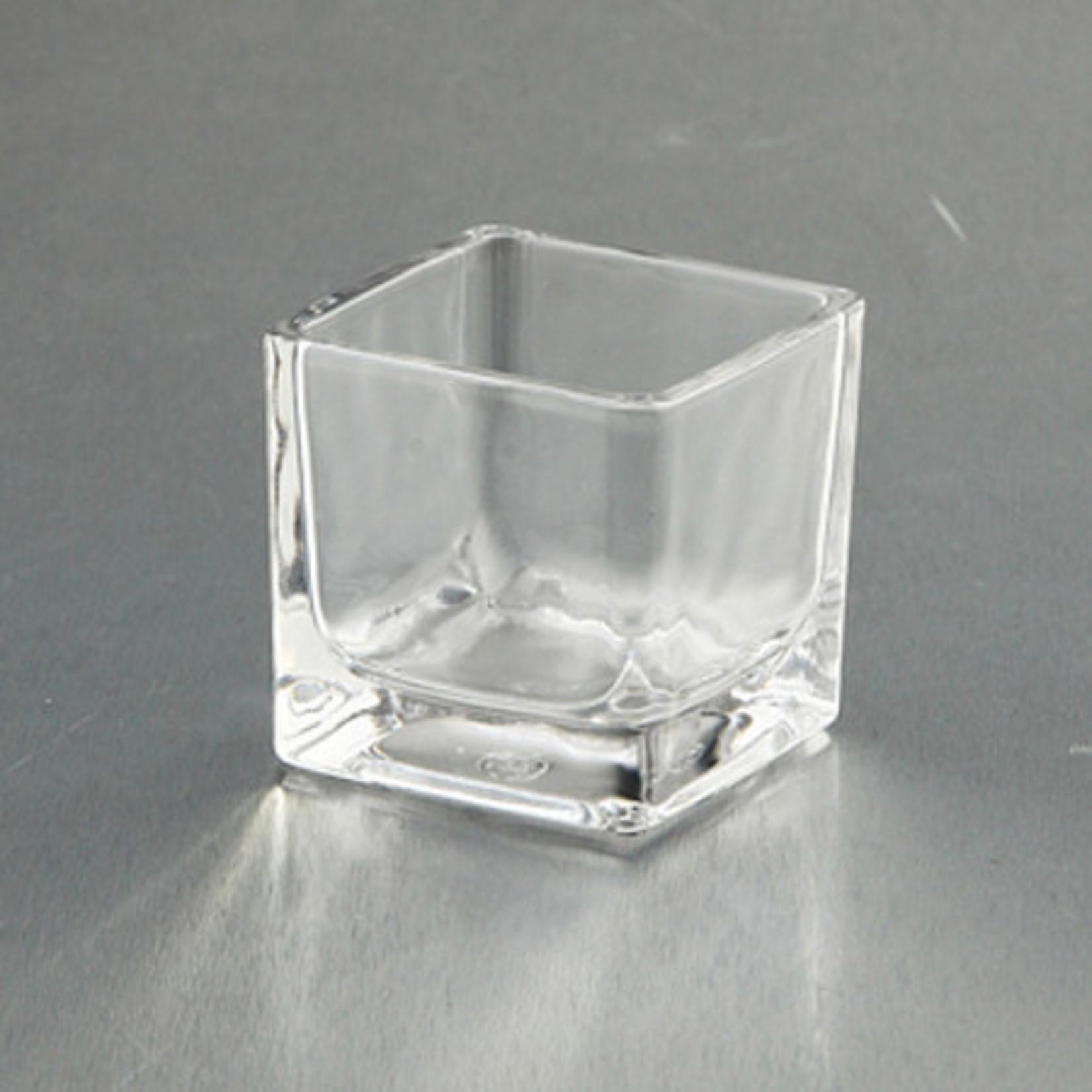 "2.5"" x 2.5"" x 2.5"" SQUARE GLASS CUBE VOTIVE"