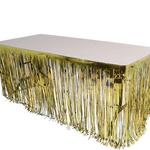 """144""""X30""""GOLD METALLIC FRINGE TABLE SKIRT"""