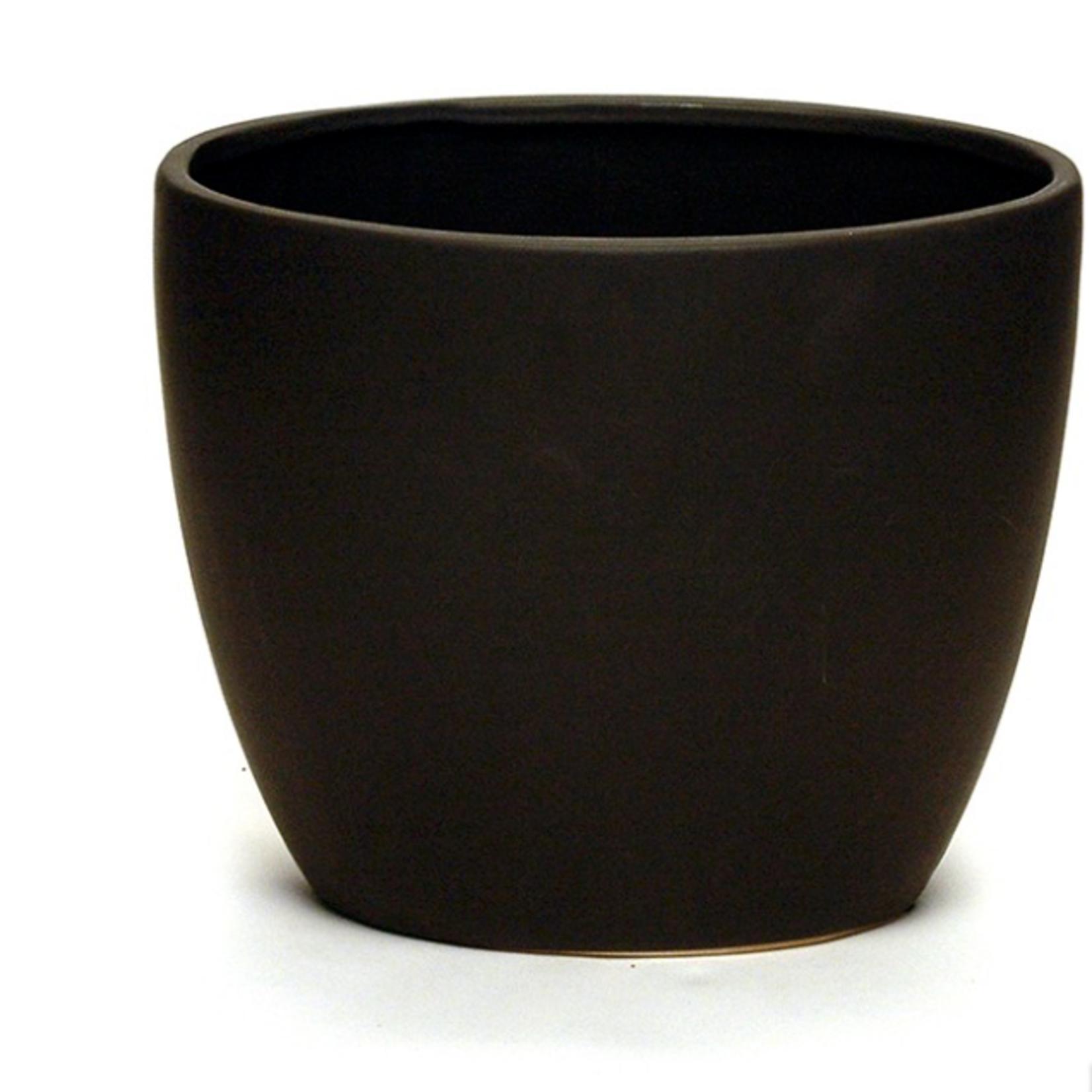 """14"""" X 8"""" Opening X 12"""" H Ceramic Eye Vase, Matte Black"""