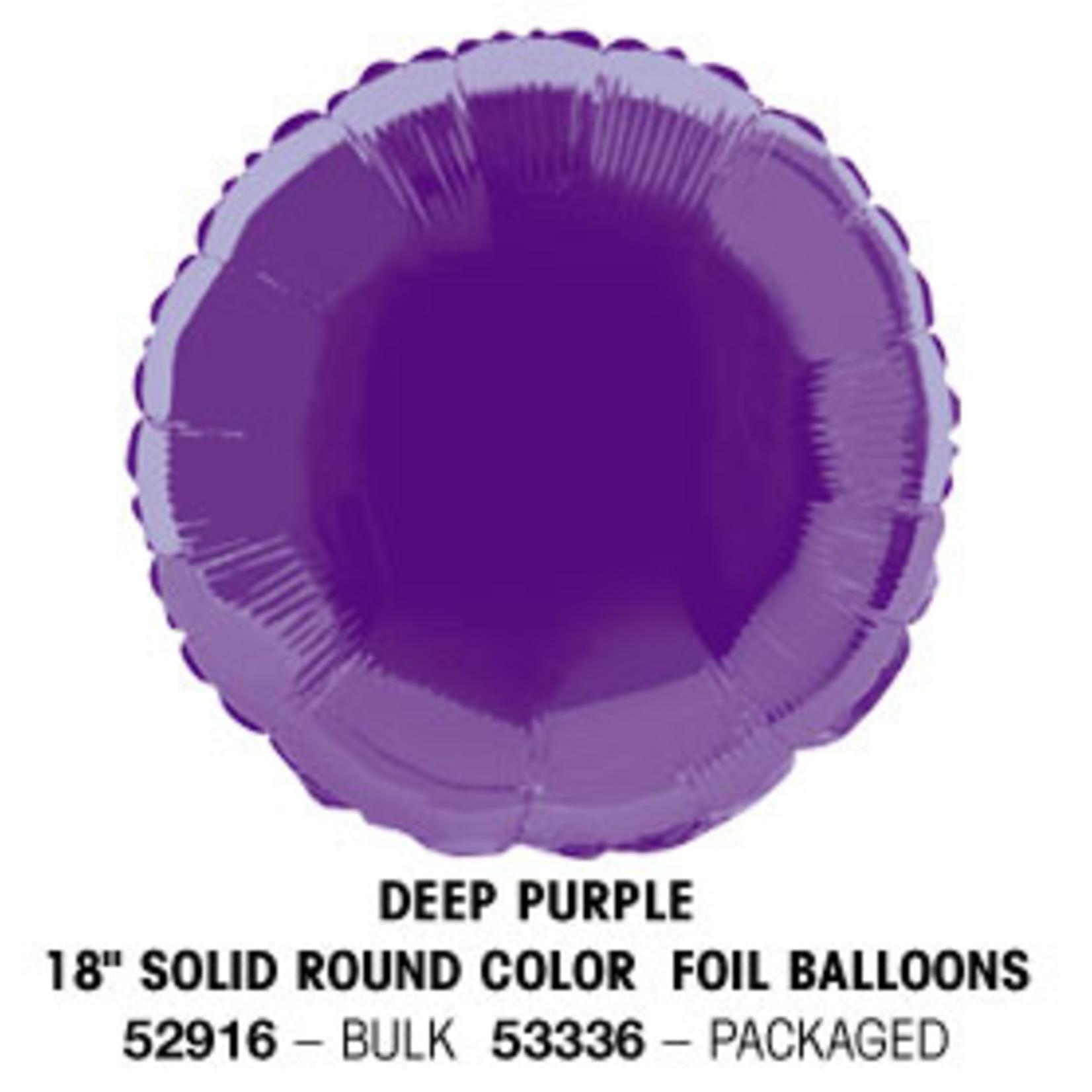 "18"""" Round Foil Balloon Bulk - Deep Purple"