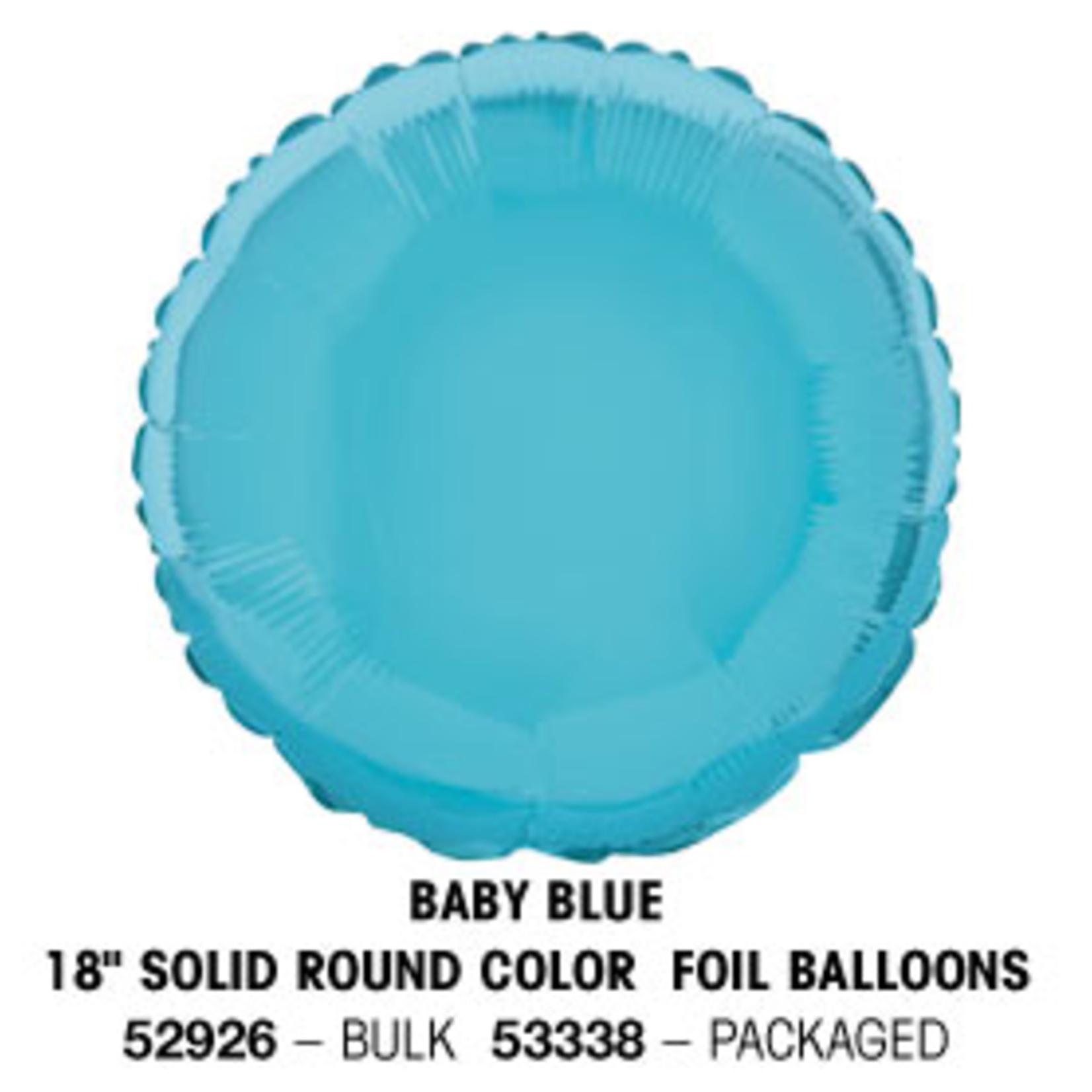 "18"""" Round Foil Balloon Bulk - Baby Blue"