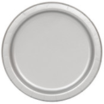 """16PCS  9"""" Round Plates SILVER SOLID"""