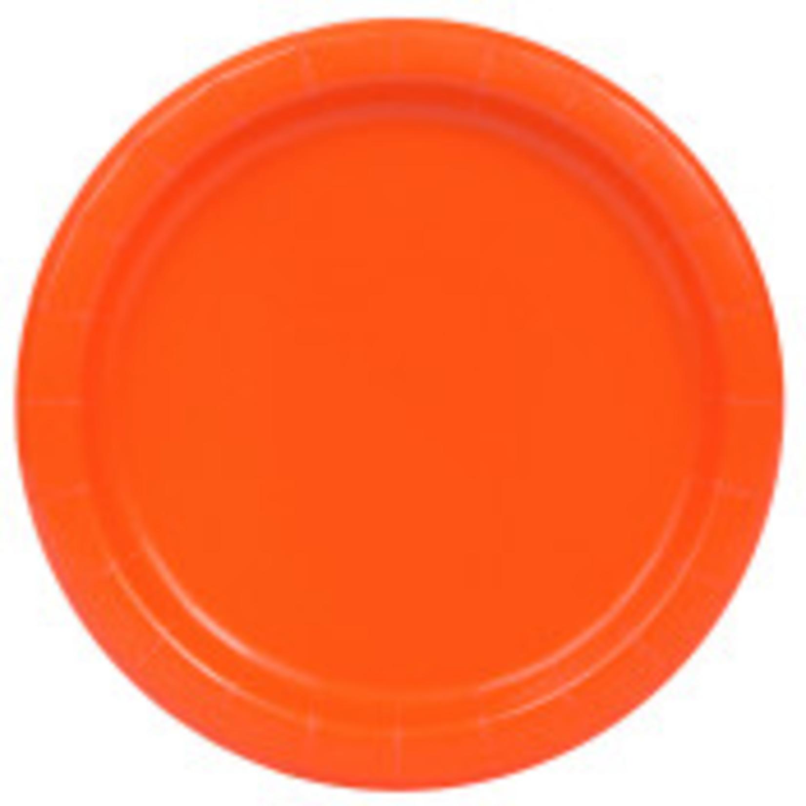 "20PCS 7""  Round Plates PUMPKIN ORANGE SOLID"