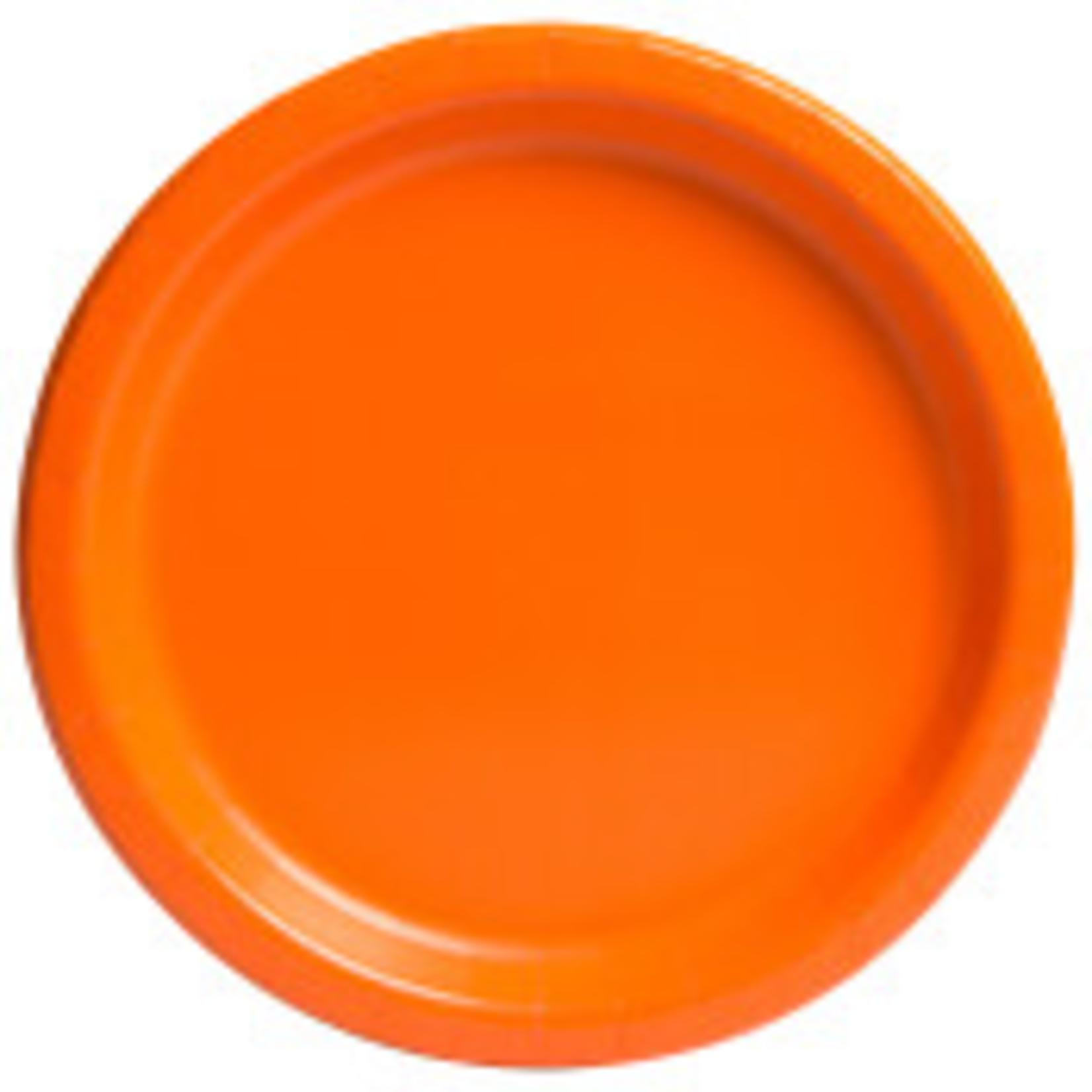 "16PCS  9"" Round Plates PUMPKIN ORANGE SOLID"