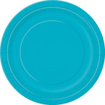 """16  9"""" Round Plates CARIBBEAN TEAL SOLID"""