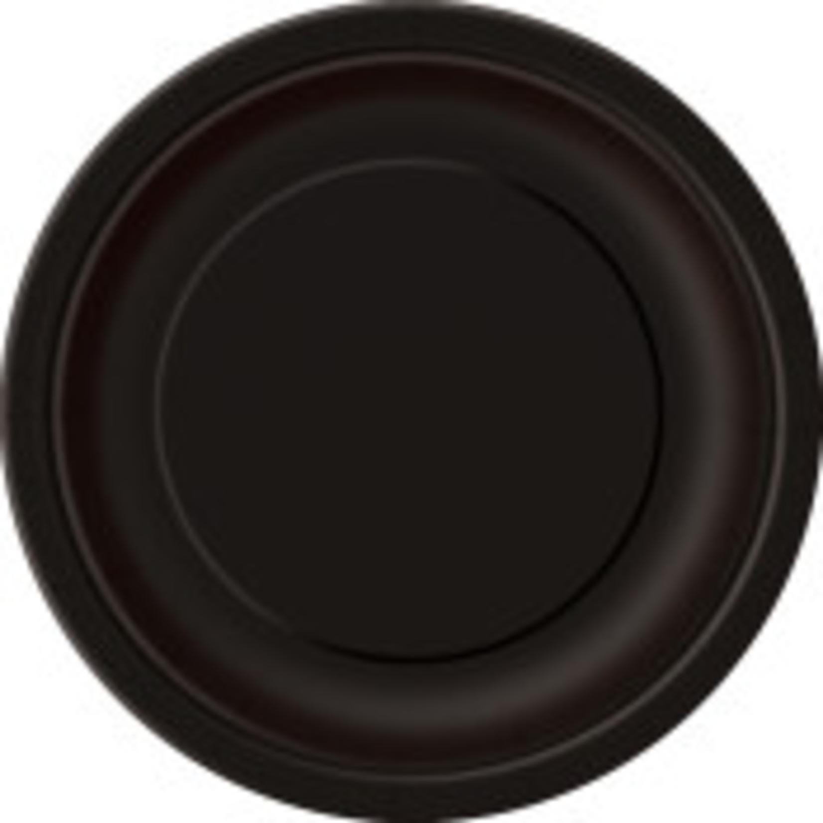 "20PCS  7"" Round Plates MIDNIGHT BLACK SOLID"