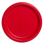 """16PCS  9"""" Round Plates RUBY RED SOLID"""