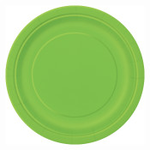 """16PCS  9"""" Round Plates LIME GREEN SOLID"""