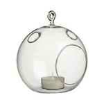 """Clear Round Hanging Votive Candle Holder / Vase. Width: 7.5"""""""". Height: 9"""""""". Open: 3.5""""""""."""