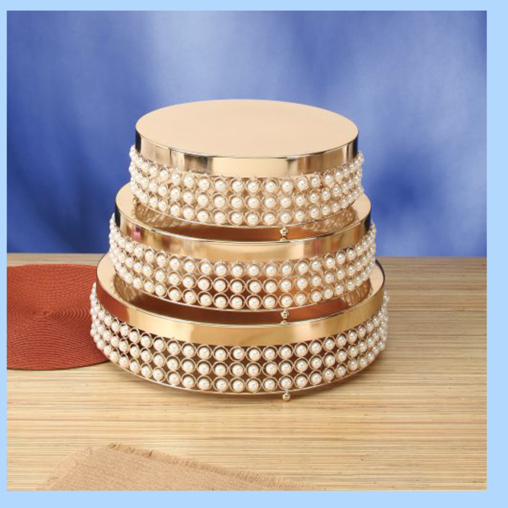 """4.75""""H X 14""""D  ROUND METAL CAKE STAND W/ PEARLS"""
