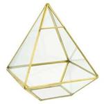 """7.5"""" PYRAMIC GLASS W. GOLD BRASS DECO"""