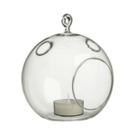 """Width: 5"""""""". Height: 6"""""""". Open: 3"""""""". Clear Round Hanging Votive Candle Holder / Vase."""