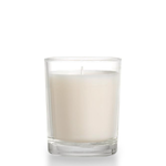 """WHITE CANDLE IN 2""""""""ROUND CLEAR GLASS,"""