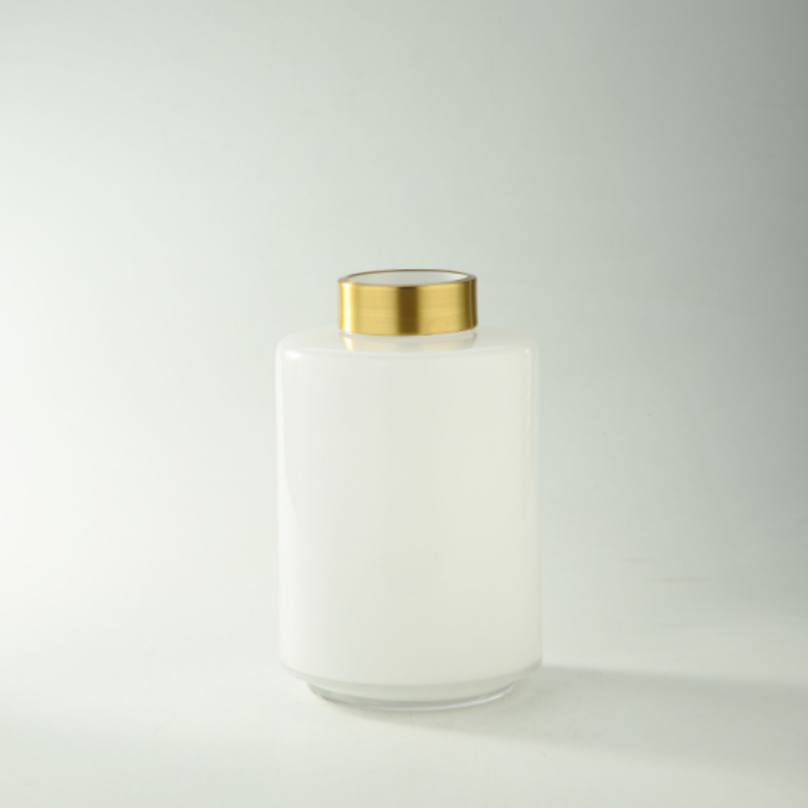 """10H X 6.5"""" WHITE BUD VASE WITH GOLD TOP"""