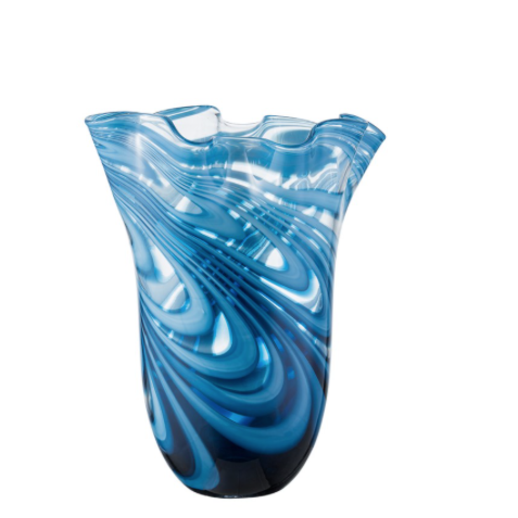 """11""""h x 9""""d BLUE LAGOON GLASS MARBLE LIKE VASE box can be marked 49105"""