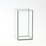 "9""H X 4.5"" X 4.5"" PLATE GLASS W/ SILVER EDGE"