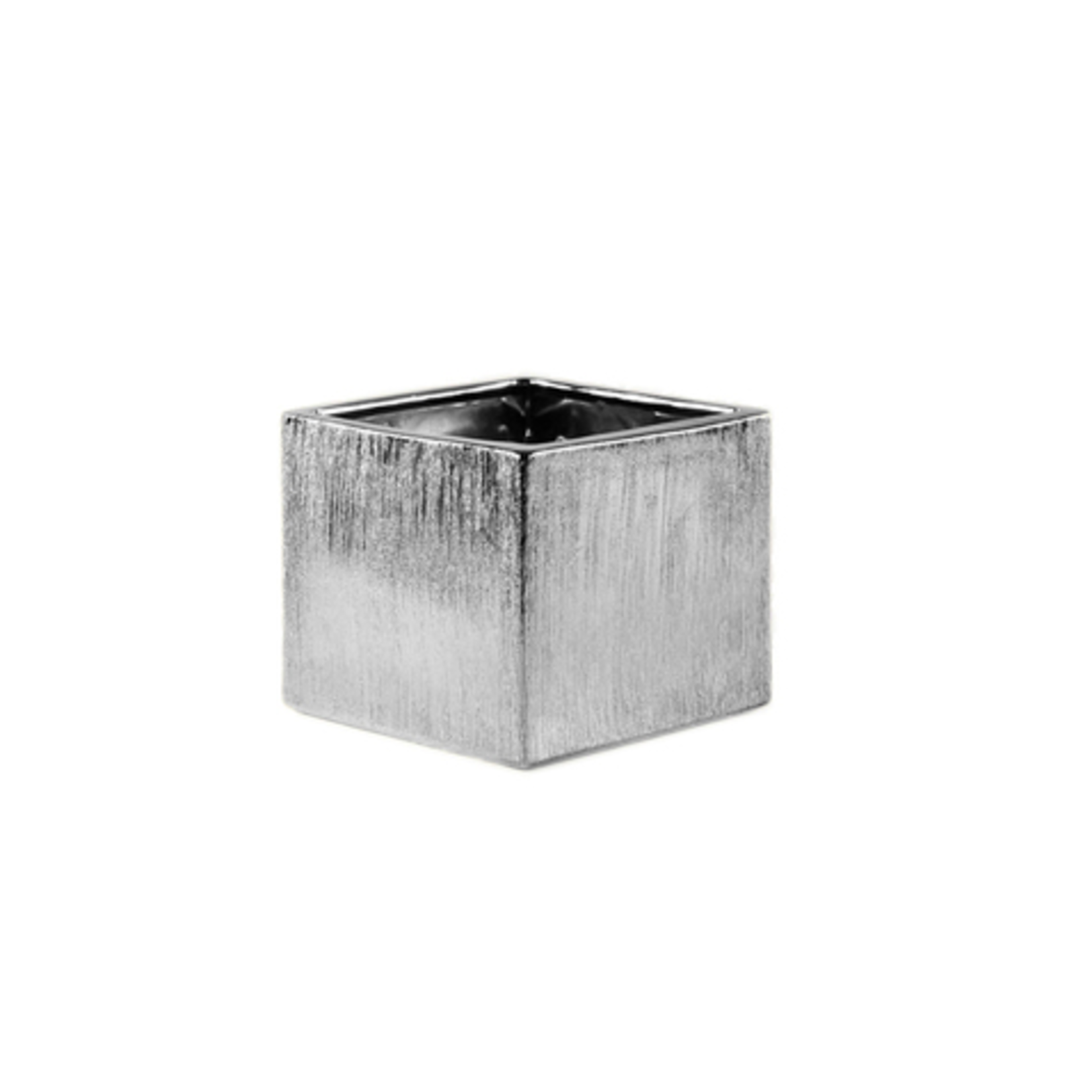 """3.75"""" x 3.75"""" x 3.75"""" SILVER ETCHED CUBE"""