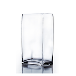 "16""H X 6"" X 4"" OPEN, RECTANGLE BLOCK GLASS VASE"