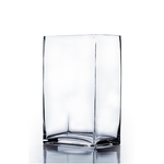 "12""H X 6"" X 4"" OPEN, RECTANGLE BLOCK GLASS VASE"