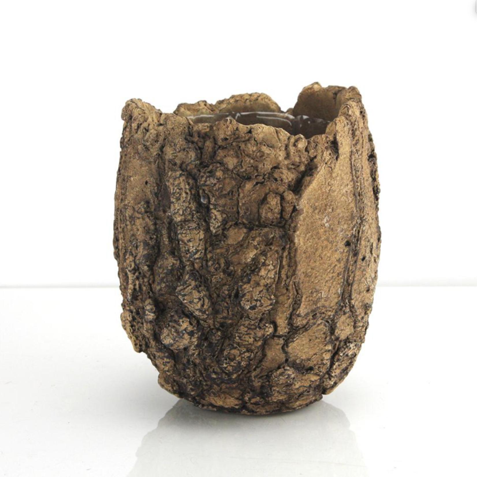 "6""H X 5.5"" Ceramic Fossil Planter"