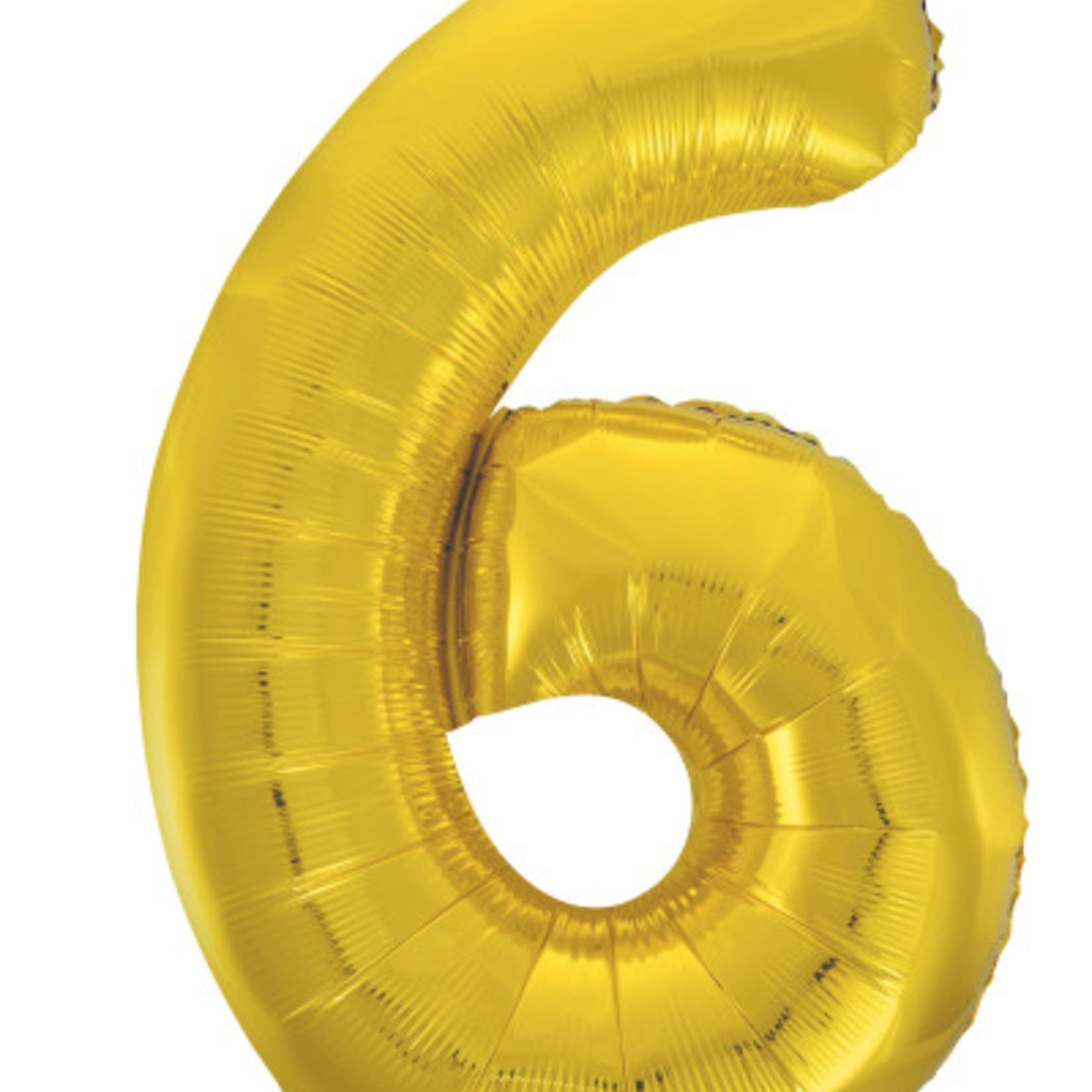"GOLD 16"" FOIL BALLOON ""6"""