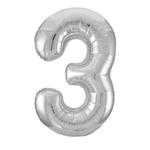 """SILVER 16"""" FOIL BALLOON """"3"""""""