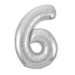 """SILVER  16"""" FOIL BALLOON """"6"""""""