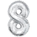 """SILVER 16"""" FOIL BALLOON """"8"""""""