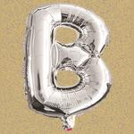 "16"" FOIL BALLOON ""B"" SILVER, 1 PC/PACK"