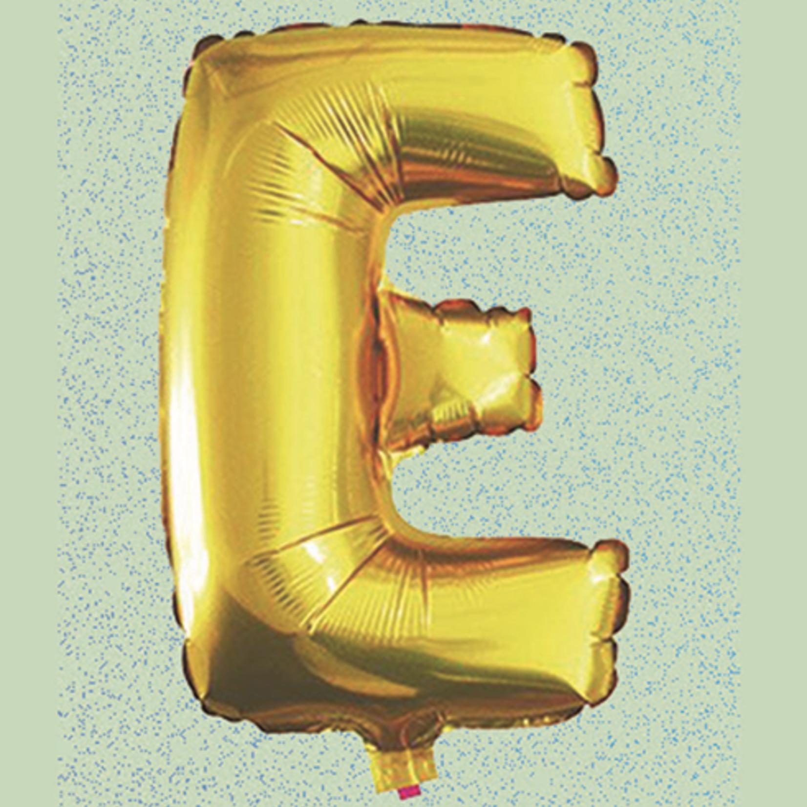 "16"" FOIL BALLOON ""E"" GOLD, 1 PC/PACK"