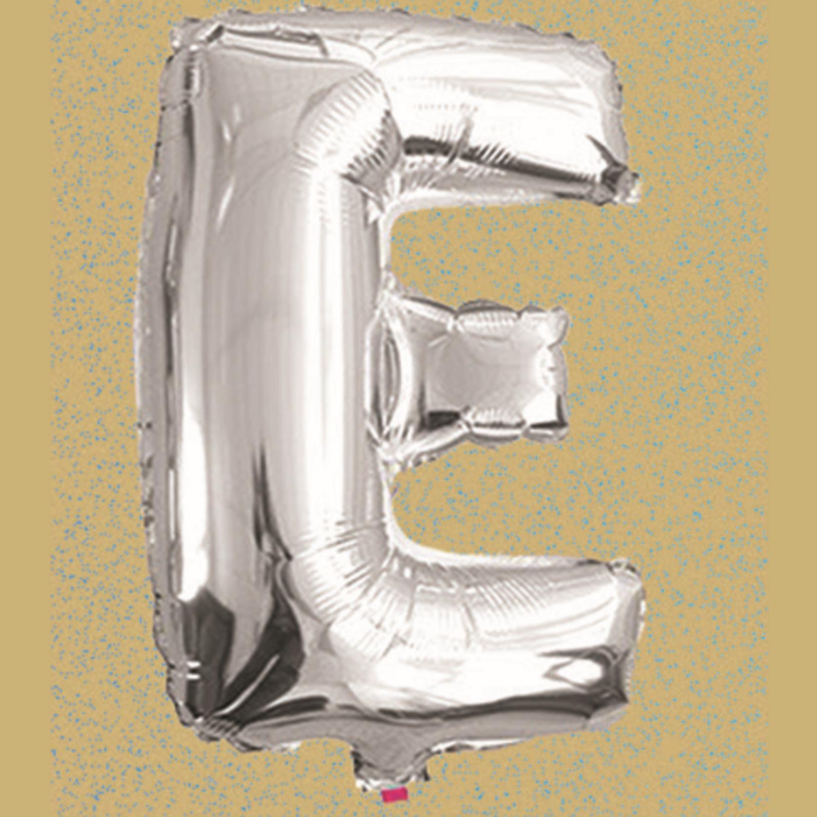 "16"" FOIL BALLOON ""E"" SILVER, 1 PC/PACK"